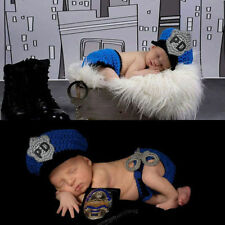 Baby Outfit Hand Made Knitted Pattern Baby Costume Cute Infant Police Style Cool