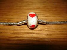 KAY JEWELERS CHARMED MEMORIES RED HEARTS ON A WHITE MURANO BEAD STERLING SILVER