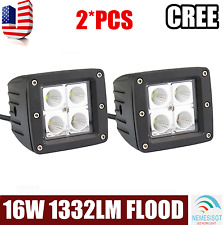 2X 3''INCH 16W Cube Pods Flood CREE LED Work Light Bumper Off-road Jeep Square