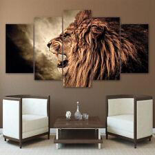 Fierce Male Lion Roar 5 Pieces canvas Wall Art Poster Picture Home Decor