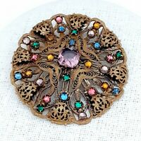 Large Round Vintage CZECH Edwardian Multi Coloured Filigree Brooch Pin