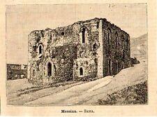 Stampa antica MESSINA Santa Maria della Valle Badiazza Sicilia 1891 Old Print