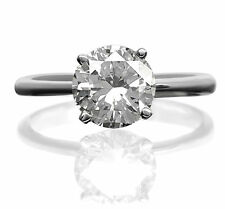 4 Carats Awesome Size 6.5 8 9 Ladies Solitaire Diamond Ring Round 14K White Gold