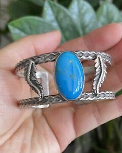 Vintage Dark Blue Turquoise Sterling Cuff/Bangle Bracelet