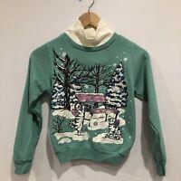 Vintage Cat Sweatshirt GIRLS SIZE 10 Winter Long Sleeve Turtleneck Christmas