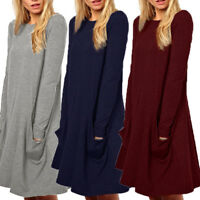 Womens Casual Long Sleeve Solid T-Shirt Loose Tunic Top Shirt Blouse Dress Plus