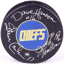 """Dave Hanson, Steve Carlson & Jeff Carlson Signed Chiefs """"Slap Shot"""" Logo Puck"""