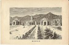 Stampa antica RIOLO veduta Stabilimento Termale Ravenna 1885 Old antique print
