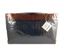 Handbag Rattan Fabric Fair Trade Purse Wood Handles Laos New with Tags Unopened
