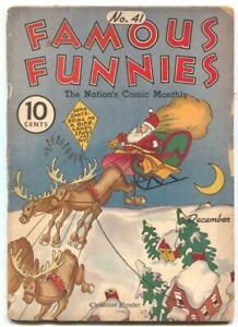 Famous Funnies #41 1937- SANTA CLAUS cover- Buck Rogers reading copy
