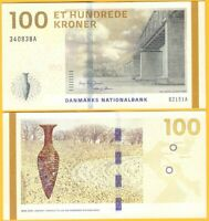 Denmark 100 Kroner p-66d 2015 Sign. Jensen & Sørensen UNC Banknote