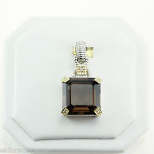 JUDITH RIPKA JR TWO SMOKEY TOPAZ & DIAMOND REMOVABLE PENDANT 18K GOLD & STERLING