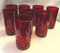 "RUBY RED GLASS TUMBLERS SET OF 8 STAR CRISS CROSS STARBURST DESIGN 5-1/2"" tall"