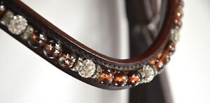 TRENSE, braun mit Perlen+Strass, Reithalfter schwed-kombiniert, Gr. Warmblut