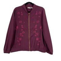 Chicos Size 2 Large L Embroidered Bomber Jacket Purple Full Zip Banded Bottom