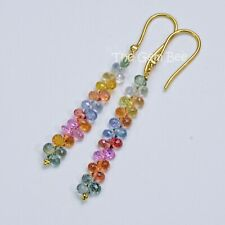18K Solid Yellow Gold Diamond Multi Color Sapphire Earrings