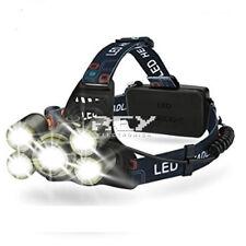Linterna Frontal Diadema LED 5x CREE T6 8000 Lm Impermeable Entrega 48/72h d360