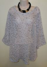 LULU B Woman's Mesh Open Weave Pull-On Gray Confetti Tunic Top Cover Up 1X NWOT