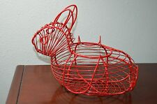 """1980s Red Coated Wire Metal Bunny Rabbit Easter Basket Foldable Handles 11"""" x 8"""""""