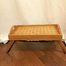 Breakfast In Bed Lap Tray Wooden And Basket Weave Serving Tray Laptop Tv