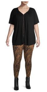 Terra & Sky Women's Full Length Soft Cheetah Ombré Print Leggings OX(14).. NEW!