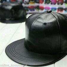Black Leather Snapback Hiphop Cap