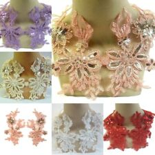 Purple Apricot Red White Cream Applique Lace Sequin Trim Pair, Dance Costume #60