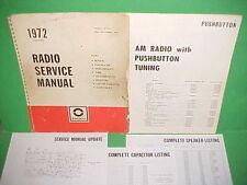 1972 CAMARO CHEVELLE SS EL CAMINO 442 FIREBIRD GTO DELCO AM RADIO SERVICE MANUAL