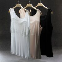 Women Ladies Lace Silk Camisole Tank Top Vest Sleeveless Blouse Soft Casual Nude