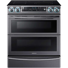 "Samsung Black Stainless 30"" Electric Dual Door Slide In Range NE58K9850WG"