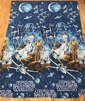 Vintage Star Wars Twin Bed Comforter Quilt 1980s Fabric Craft Material Blanket