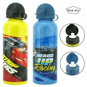 2x Disney Cars Aluminium Water Bottles 500ml Dark Blue & Yellow For Kids School