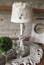Tischlampe + Lampenschirm 44 cm Shabby Chic Landhaus Stoff Weiß Schleife Vintage