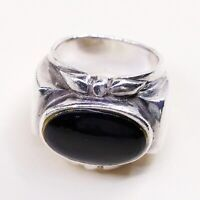 Sz 6.25, Vtg Sterling Silver Handmade Ring, 925 Band W Obsidian N Bali Beads