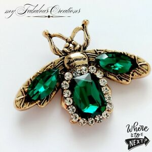 Vintage Art Deco Style Antique Gold Bumble Bee Emerald Green Crystal Brooch Pin
