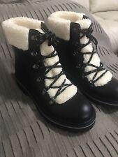 Tommy Hilfiger Womens Ron 2 Leather Faux Fur Combat Boots black New Sz 8.5