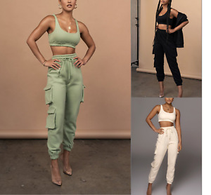 Womens Ladies 2 Piece Crop Top and Cargo Joggers Co-Ord Set Winter Fashion