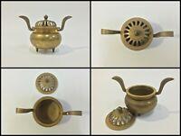 Japanese Brass Buddhist Incense Burner Koro Vintage Lidded Pot Golden G490