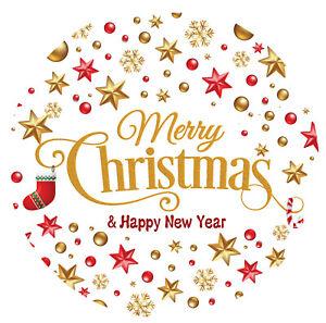 Merry Christmas Happy New Year Stickers Labels Santa presents GOLD FOIL MATT