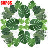 60 PCS 6 Kinds Tropical Hawaiian Artificial Palm Leaves Foliage Party Decor