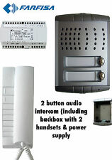 Farfisa 2 vías Flush Kit/sistema de intercomunicación de audio exterior 2x Auriculares 1x Intercomunicador