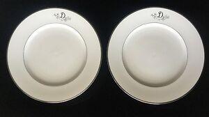 "Princess House Heritage Bavaria Germany ""D"" Monogram Dinner Plate Gold Trim PAIR"