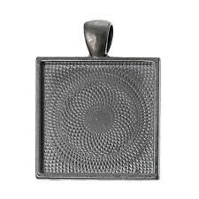"10 pcs 1"" inch Pendant Square Settings Bezel Tray Blank 25mm Gunmetal Black"