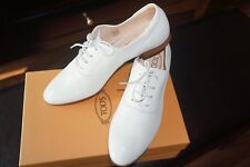$695+NEW Tod's Off White Leather Flat Oxford Shoes Sz IT 40/US 39.5