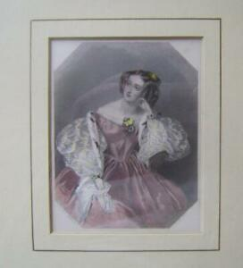 Antique Gold Framed Engraving : Portrait of a Lady by A E Chalon RA  C.19th