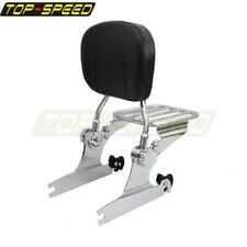 Passenger Adjustable Backrest Sissy Bar Luggage Rack For Softail Fat Boy 2000-06