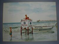 ARTIST SIGNED ORIGINAL WATERCOLOR PAINTING OF THE BEACH AND LIFEGUARDS