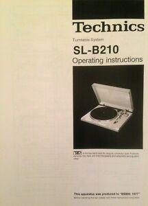 Technics SL-B210 - Turntable System Operating Instruction - USER MANUAL