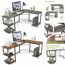 L-Shaped Corner Desk Computer Gaming PC Table Workstation w/ Shelves Home Office