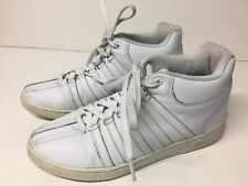 K-Swiss Classic Mens Mid White/White Leather Shoes Sneakers Size 8.5 / 41.5